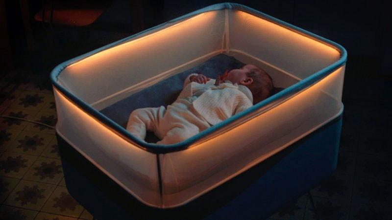 High Tech Crib that simulates car ride