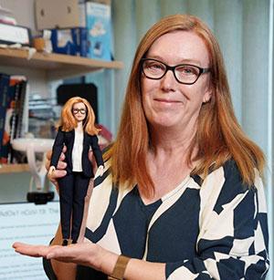 Dr. Sarah Gilbert with her Barbie